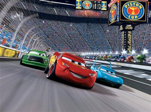 Lightning McQueen racing during Cars 2 movieloversreviews.filminspector.com