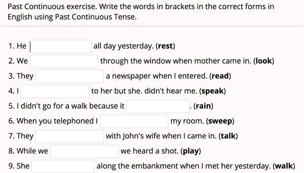 Ejercicios para completar las oraciones afirmativas y negativas del pasado continuo en inglés