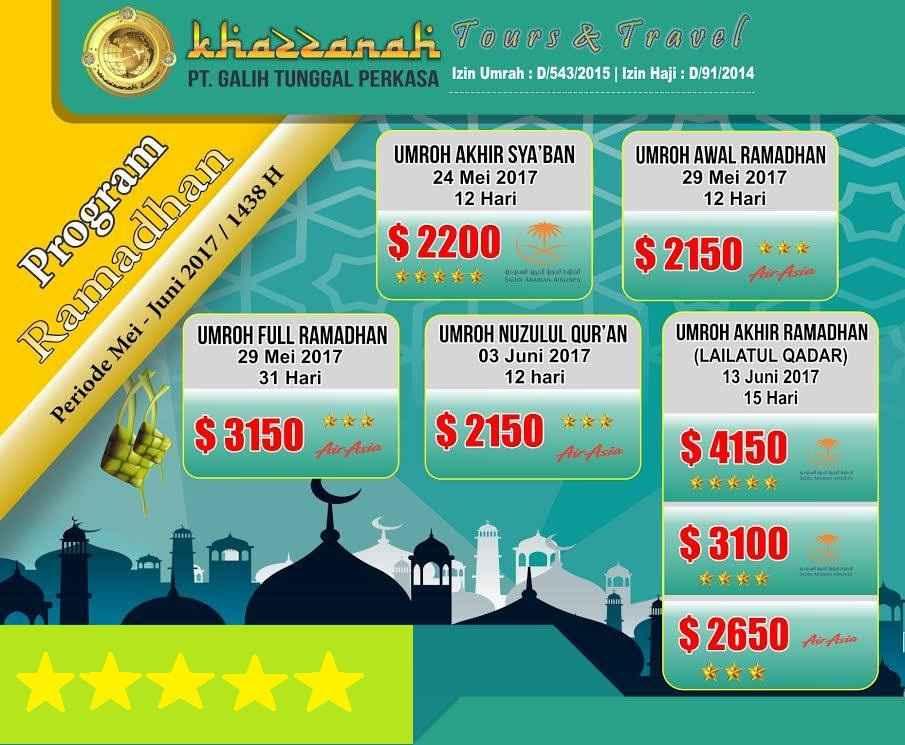 Info Biaya Program Umroh Ramadhan 2017