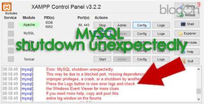 Cara Lain Mengatasi Error: MySQL shutdown unexpectedly (2)