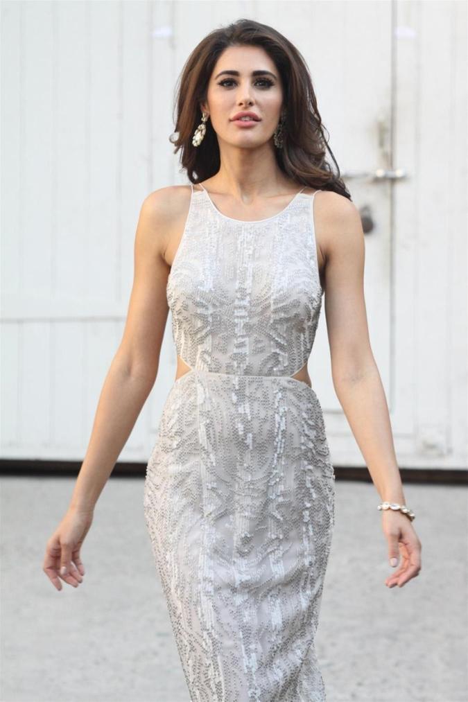 Beautiful Mumbai Girl Nargis Fakhri Long Hair Photos In White Dress
