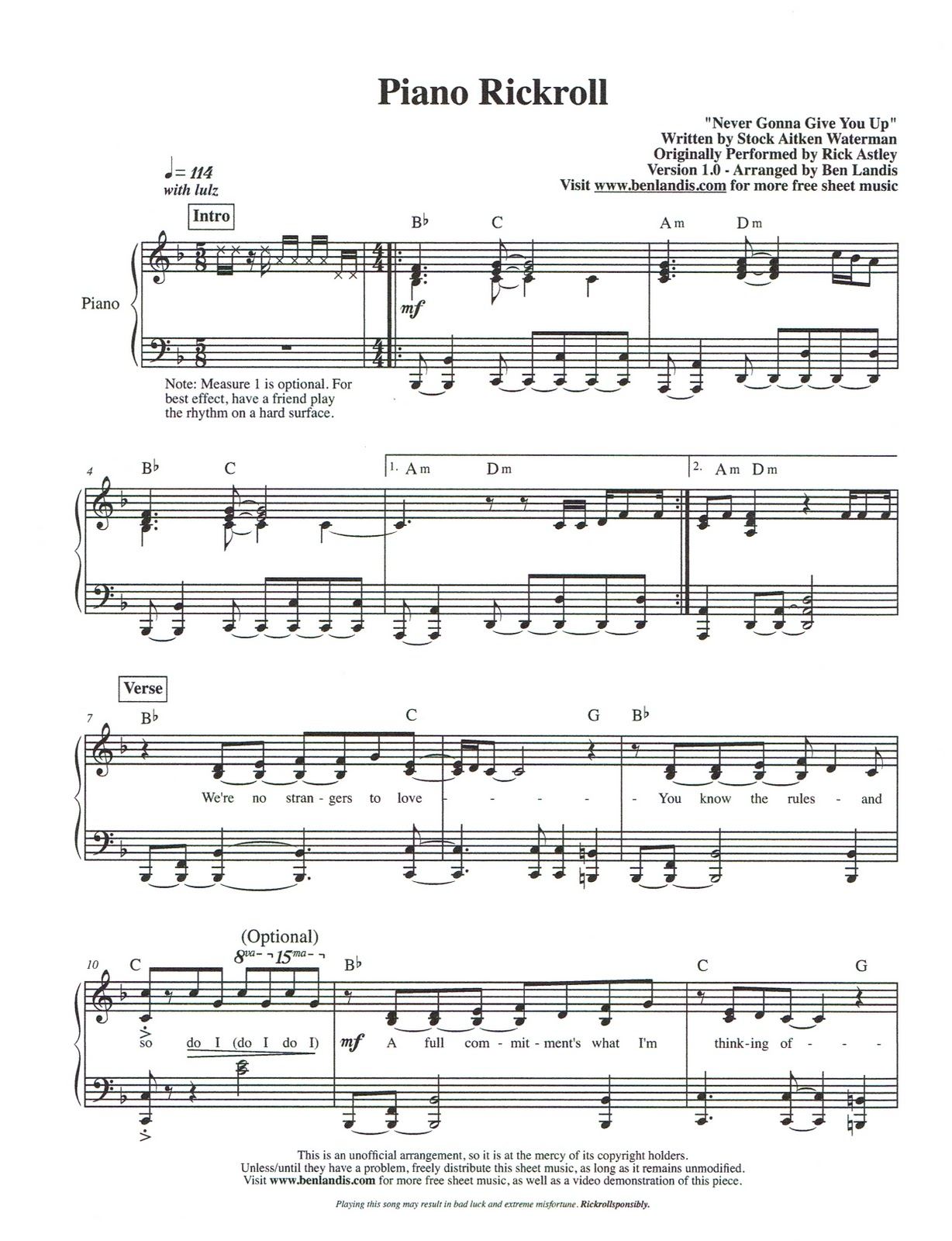 Sheet Music Soad727 Rick Astley Never Gonna Give You Up