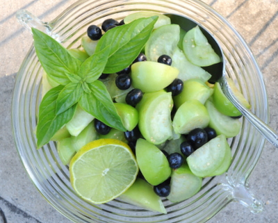 Raw Tomatillo Salad with Blueberries, another easy summer salad ♥ AVeggieVenture.com. Just Three Ingredients! Weeknight Easy. No Measuring. Gluten Free. Vegan. Paleo.