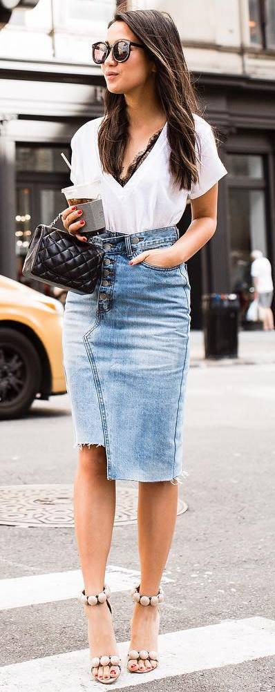 trendy outfit idea : white top + denim skirt + bag + heels