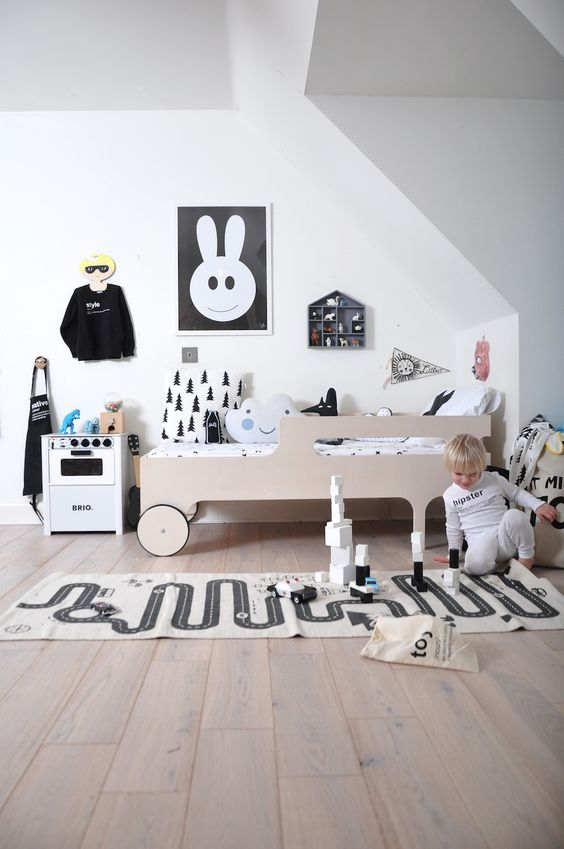 Inspirational kids room in monochrome - designer details