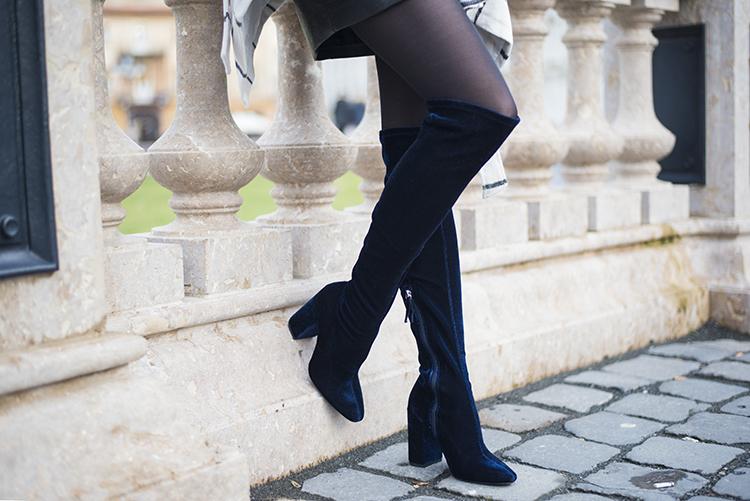 Skinny Buddha Blue Velvet Knee Boots