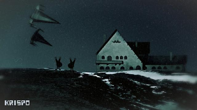 dos extraterrestres con dos naves en una campo con una casa