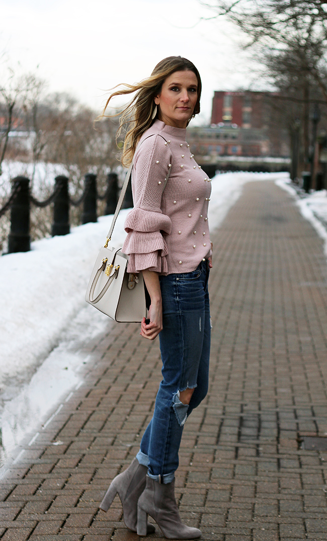 Sweater With Pearls #springoutfits #sweater #tieredsleeves