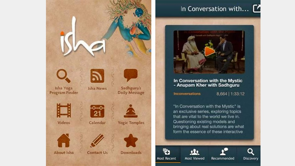 5 free best and must to have spiritual android apps for 2015 - Free Isha Foundation android app - Turn Spiritual, Turnspiritual.in