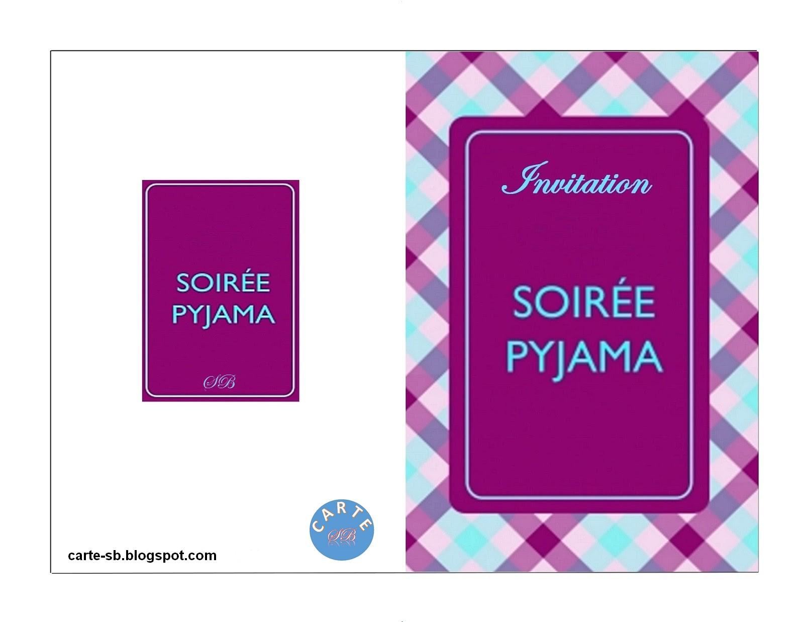 carte invitation soiree pyjama a imprimer