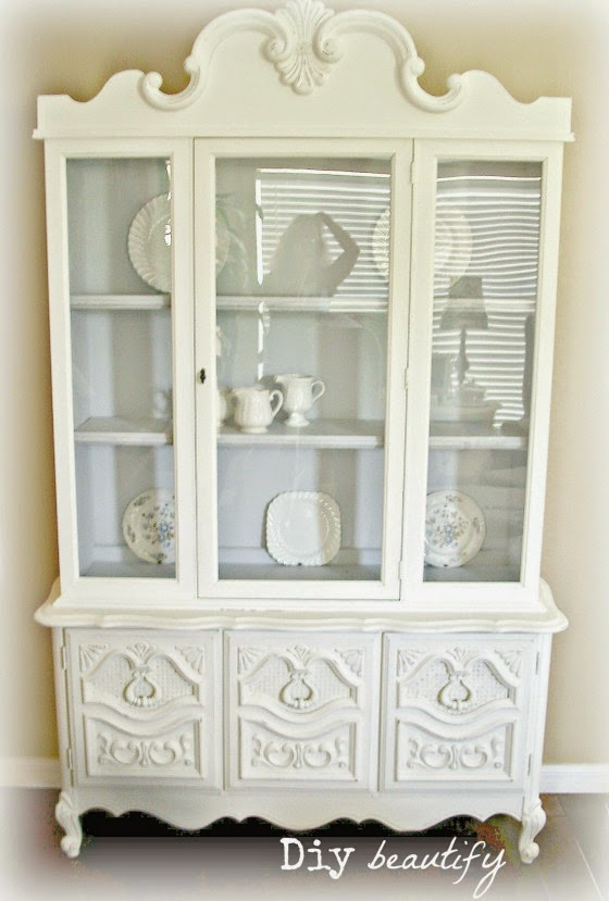 Shabby white French hutch redo www.diybeautify.com