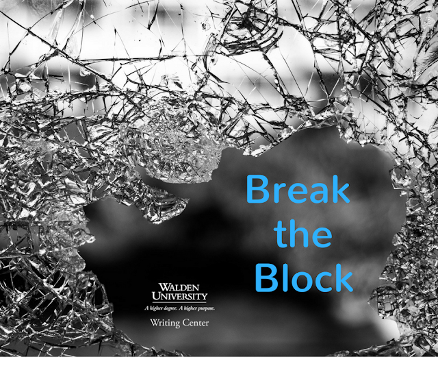 Break the Block words coming through a broken pane of glass