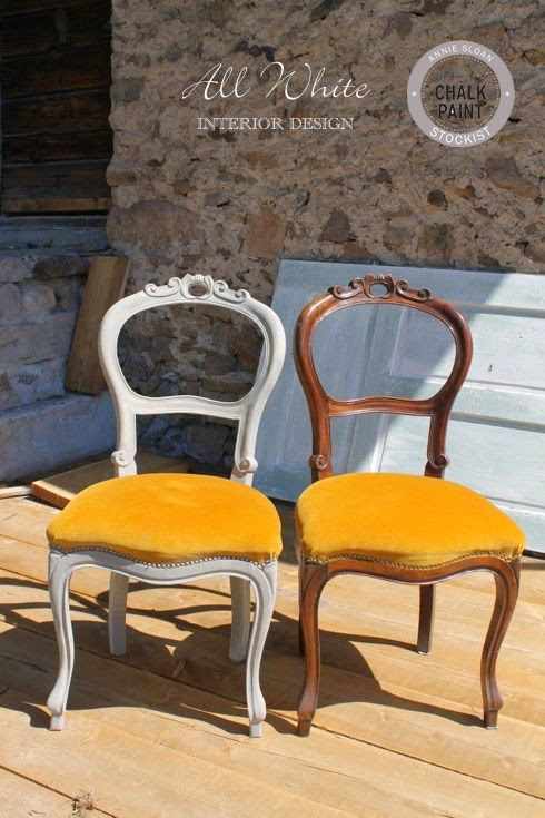 Chalk paint come trasformare una sedia con cuscino in for Sedie design velluto