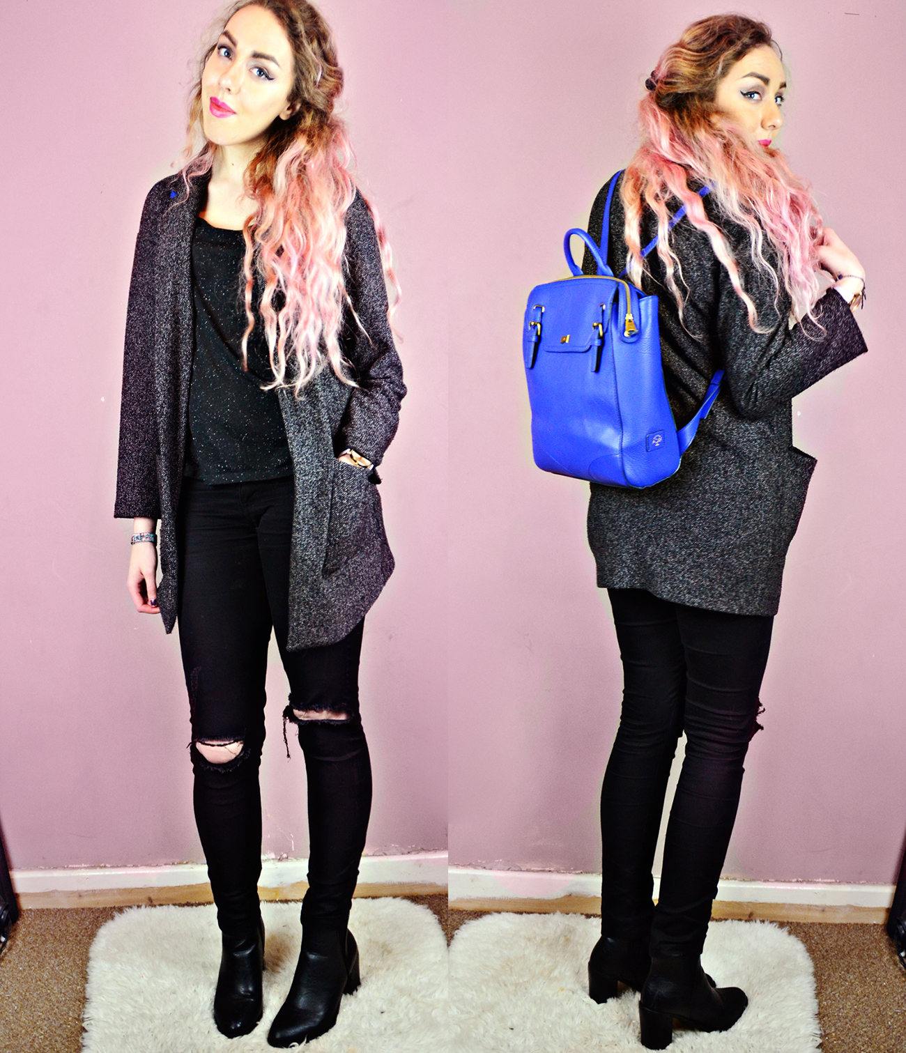 Backpack*// Nica Handbags Jacket// River Island (old) (similar) Speckled Boyfriend Tee// New Look (similar) Ripped Jeans*// Quiz Pointed Boots*// Boohoo Stephi LaReine, Style Blogger pink hair