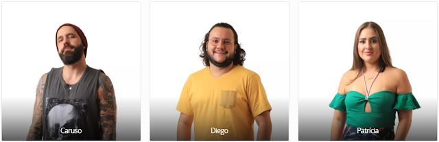 Vote no Paredão do BBB18 desta semana: CARUSO X DIEGO X PATRICIA e veja a enquete de quem esta ganhando
