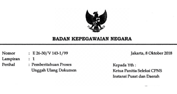 Pemberitahuan Proses Unggah Ulang Dokumen CPNS 2018