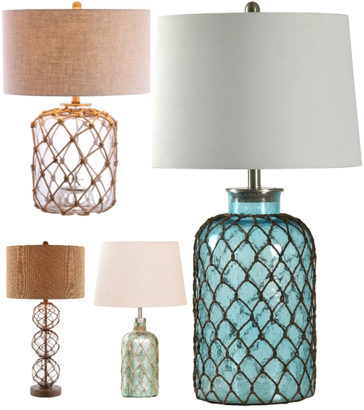 Coastal Rope Net Table Lamps