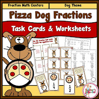 Pizza Pie Fractions Task Cards and Worksheets