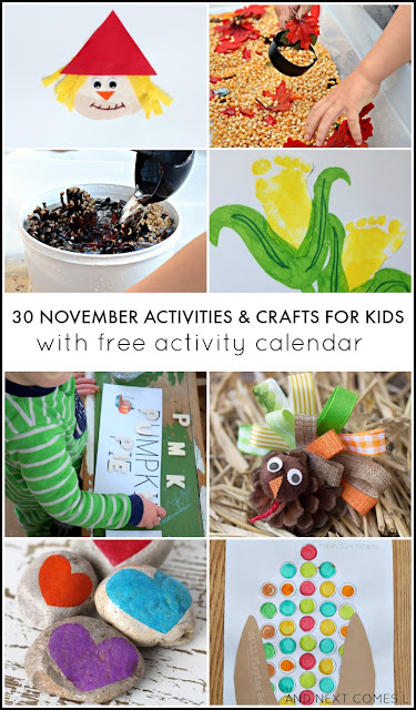 30 November activities & crafts for kids with free downloadable activity calendar from And Next Comes L