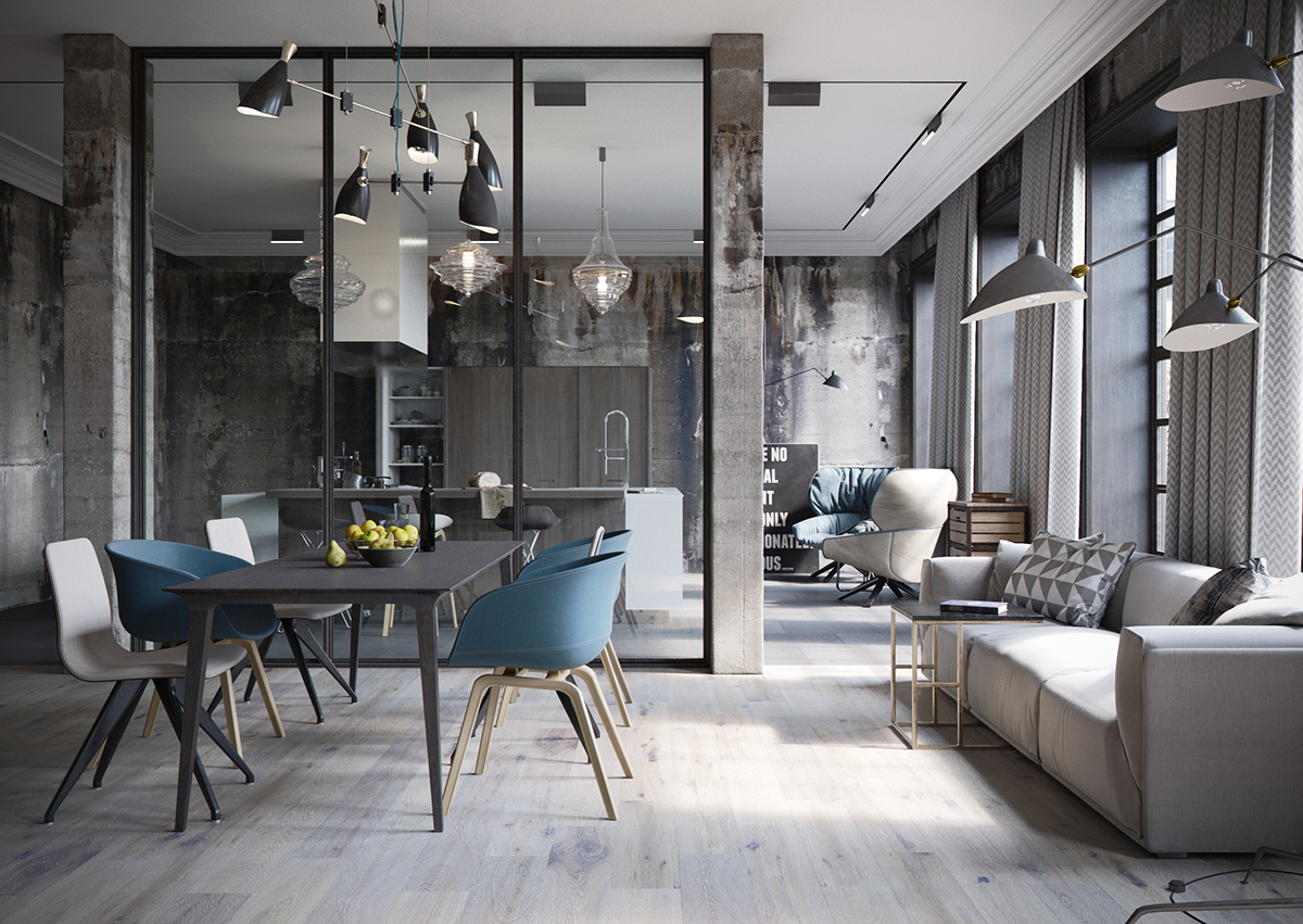 Decordemon industrial loft by denis krasikov for Kleuren interieur