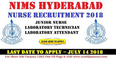 NIMS Hyderabad Nurse Recruitment 2018