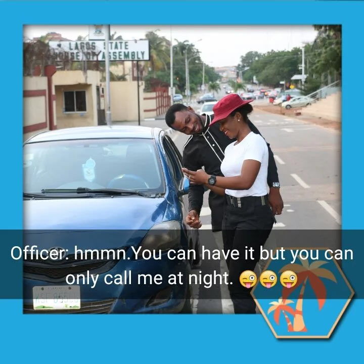 Couple go viral with their amazing FRSC officer vs driver pre-wedding shoot