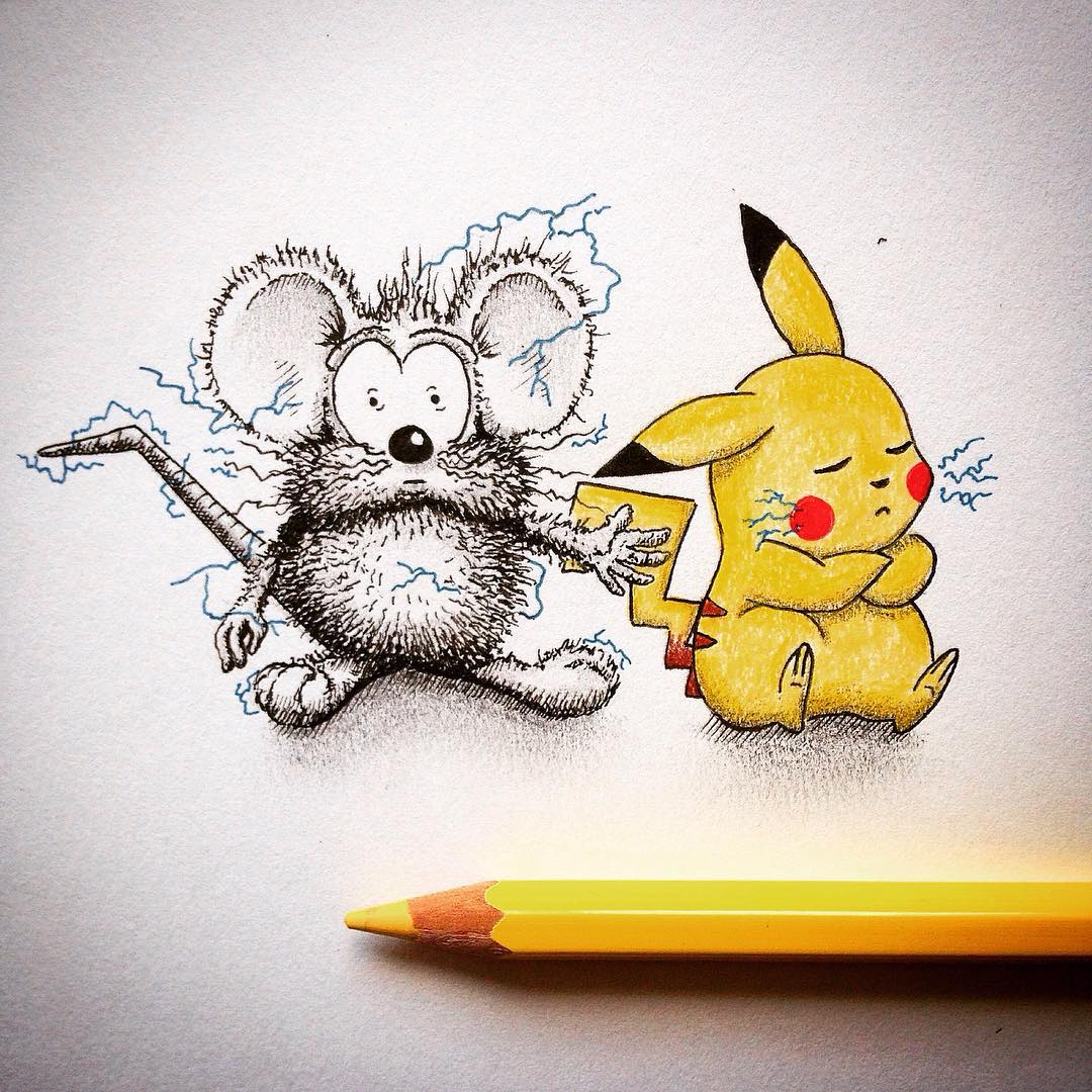 05-Pokemon-Pikachu-Loïc-Apreda-apredart-Drawings-of-Rikiki-the-Mouse-and-his-Famous-Friends-www-designstack-co