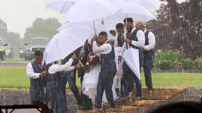 A bride is protected from 'pouring' rain, thanks to groomsmen