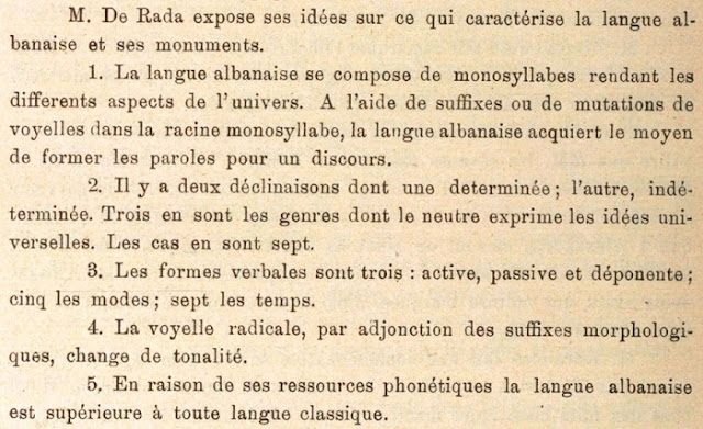 "Jeronim De Rada in the International Congress of the Peoples of the East in 1899: ""The Albanian language is superior to any classical language"
