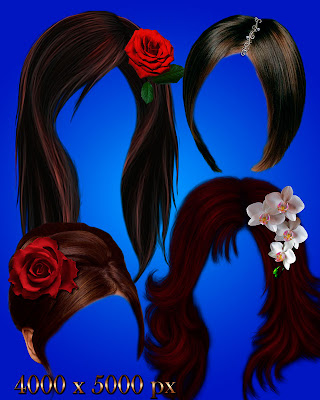 Hairstyles with the decorations and flowers