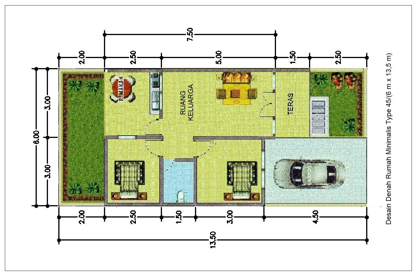Desain Rumah Minimalis 7 X 13