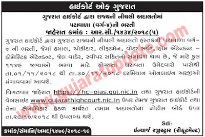 High Court of Gujarat Recruitment for 1149 Hamal, Chowkidar & Other Posts 2018