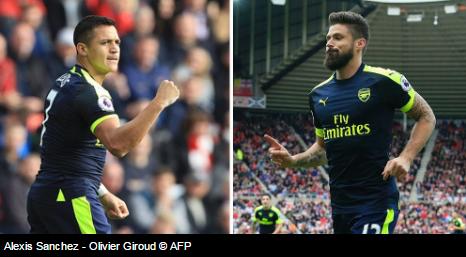 Alexis Sanchez & Oliver Giroud | Hasil Pertandingan Sunderland vs Arsenal: Skor 1 - 4