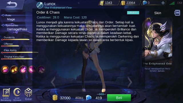 Lunox, Mage Terbaru Mobile Legends Dengan 4 Skill Saingan Zhask