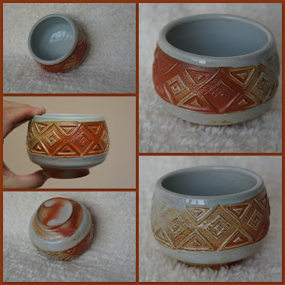 Soda fired yunomi or tea cup, handmade pottery by Lily L.