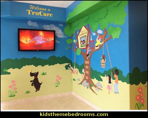 Treetop Clubhouse Wall Mural - Paint by Numbers  outdoor theme bedroom ideas - camping theme bedroom decor  - backyard themed kids rooms  - bugs and critters theme bedrooms - Happy Camper little boys outdoor theme bedroom - tree wall decal - dog wall decal stickers - treehouse bed  treehouse theme bedrooms - camping room decor - camping theme room - Boy Scout Camp mural - backyard garden camping bedroom ideas - nature inspired bedding - nature wallpaper murals - plush critter toys