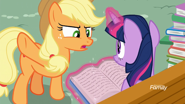 Applejack yelling at Twilight not to use magic as she reads from a book on a bench.