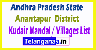 Kudair Mandal Villages Codes Anantapur District Andhra Pradesh State India