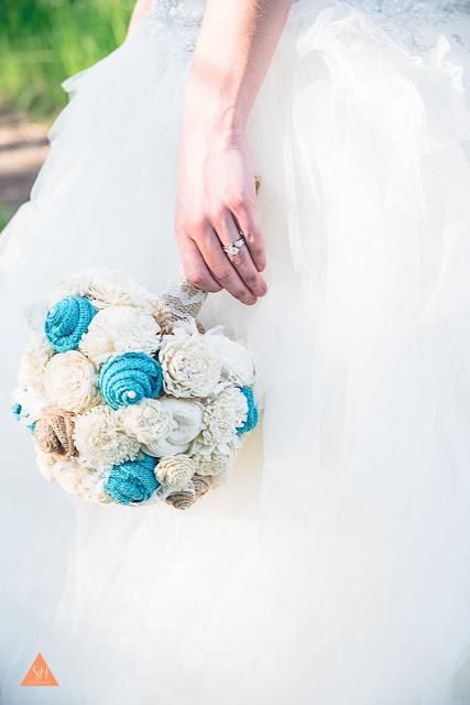 jade burlap bouquet
