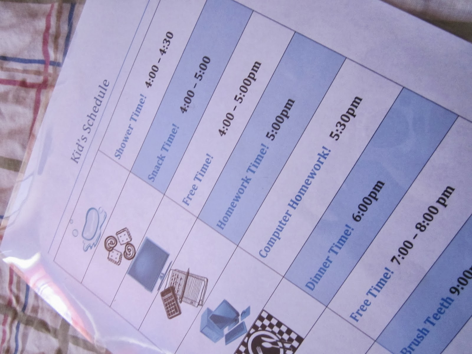 kids schedule printable