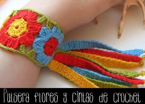 brazaletes, pulseras, flores, crochet, arco iris, ganchillo
