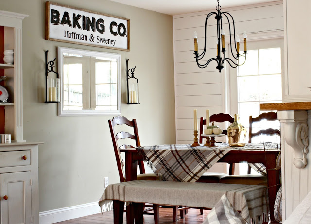 DIY wall planking in dining area with farmhouse style painted sign - www.goldenboysandme.com