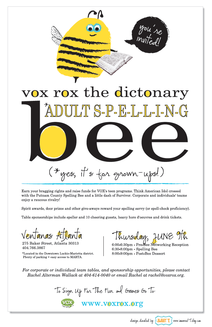 spelling bee invitation template - sweet t invitations