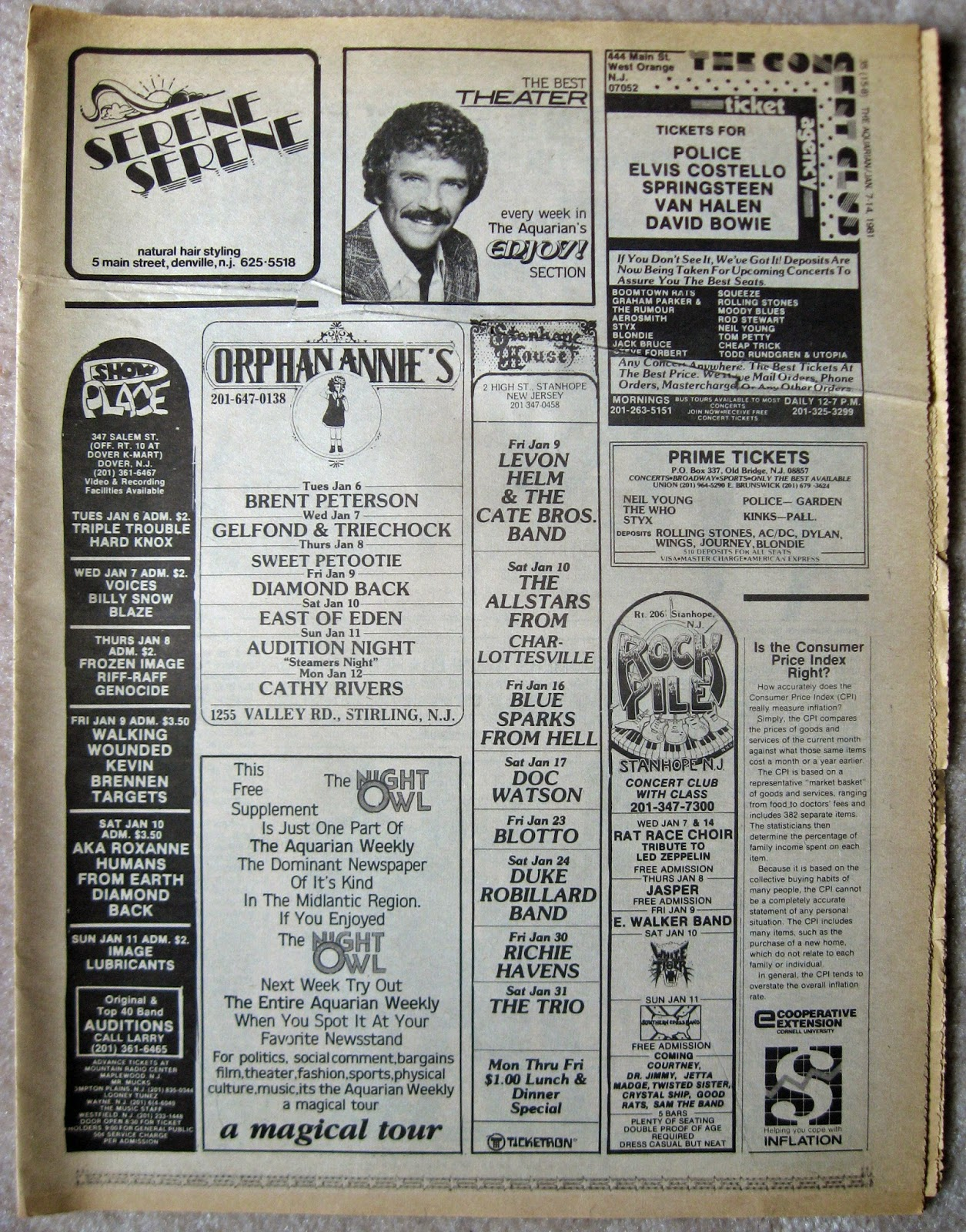 Show Place - Orphan Annie's - Stanhope House - Rock Pile band line ups 1981