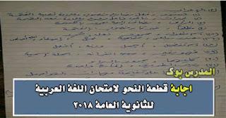 اجابة قطعة النحو لامتحان العربي للثانوية العامة 2018 سؤال الأعراب والاستخراج والكشف في المعجم