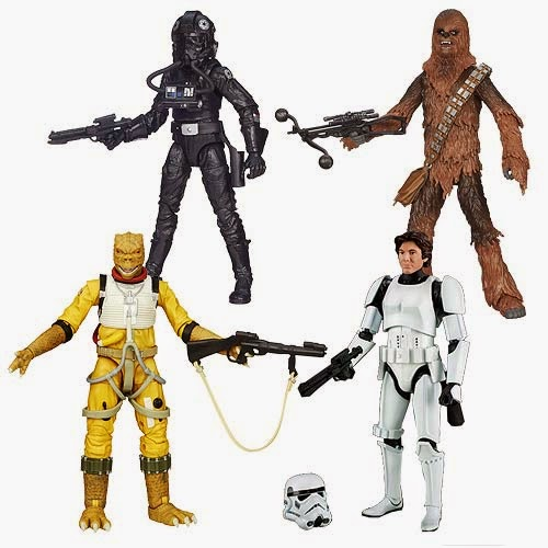 "Star Wars Black Series Wave 7 6"" Action Figures - Han Solo in Stormtrooper Gear, Bossk, Chewbacca & TIE Fighter Pilot"