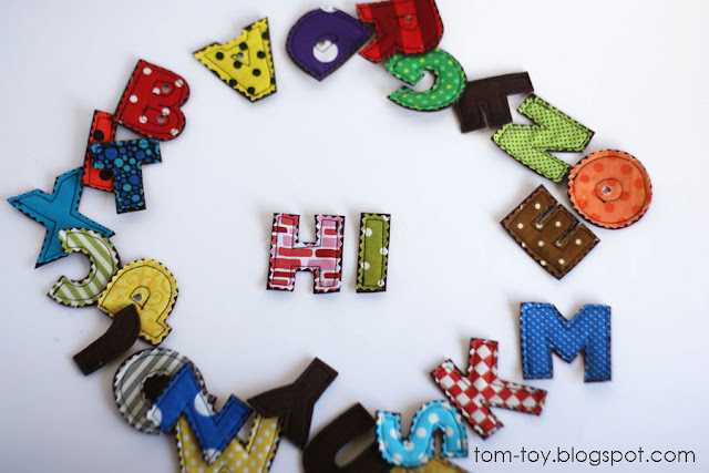 Fun abc letters made from hard felt and colorful pattern cotton fabrics