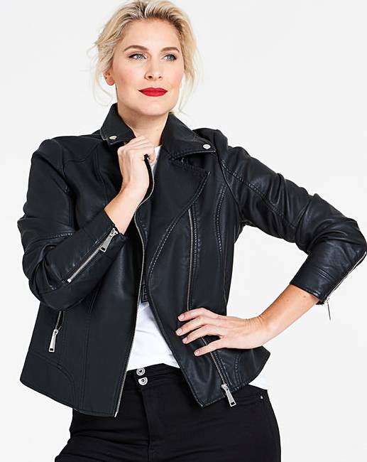 jd williams black faux leather biker jacket