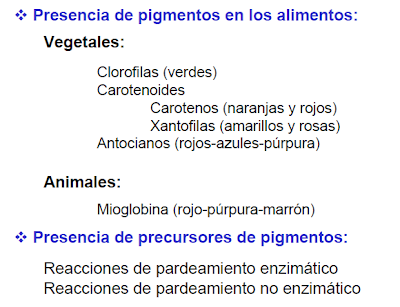 color, alimentos, propiedades organolépticas, alimentación
