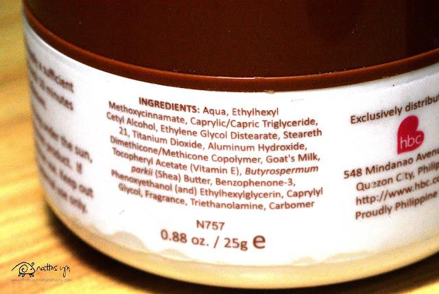 HBC's Body Recipe Milk+ Sunblock Cream SPF 20